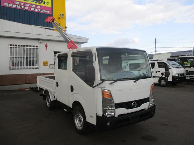 日産 アトラストラック 4WD ダブルキャブ ミニクレーン リモコン付き リアヒーター 切り替え4WD
