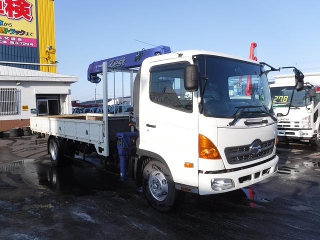 日野 4トン 3段クレーン ラジコン フックイン 積載2900k 荷台内寸長さ5400 幅2160