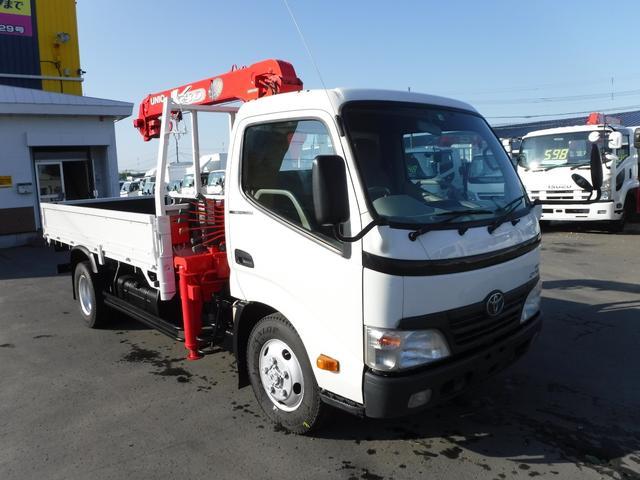 トヨタ ダイナトラック 3トン 4WD 3段クレーン ラジコン フックイン 床 縞鉄板 荷台内寸長さ3600 幅1800