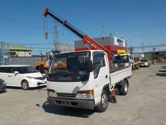 エルフトラック2トン3段簡易クレーン付 4WD フルフラットロー