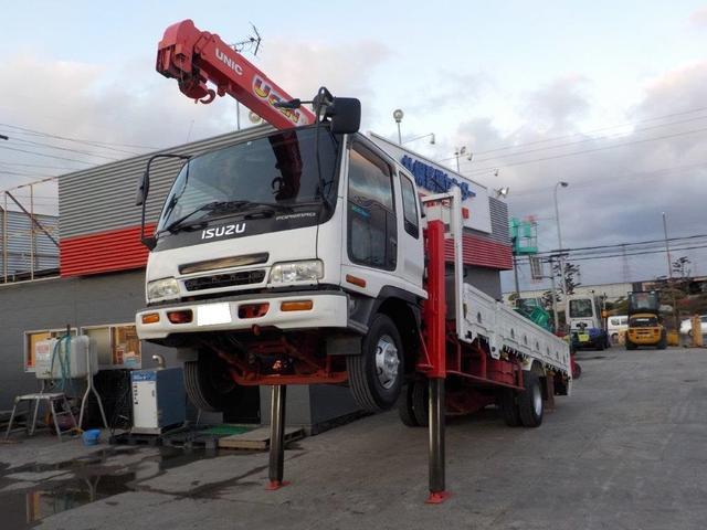いすゞ 4トン3段クレーンロング ロングジャッキ ラジコン・ウィンチ