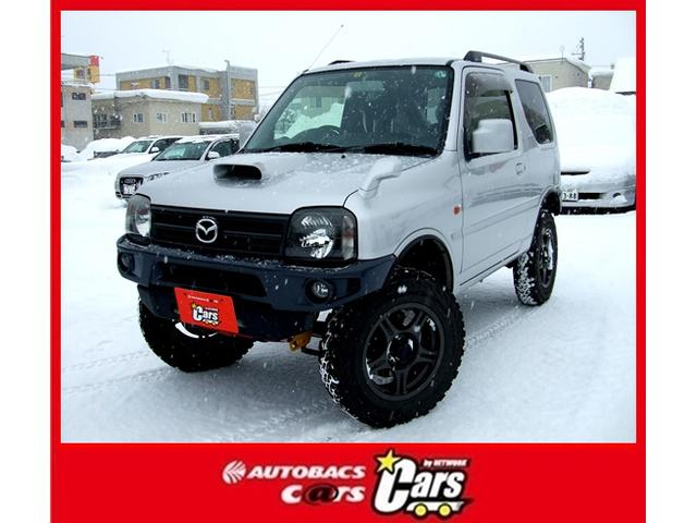 マツダ XC ターボ 4WD ワンオーナー リフトアップ 純正サス有 社外前後バンパー 社外16インチアルミ夏タイヤ 純正16インチアルミ冬タイヤ DVDプレイヤー キーレス ドアバイザー ABS