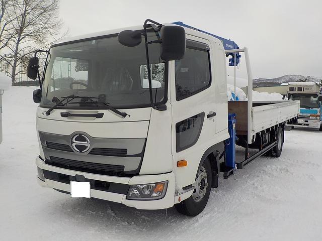 日野 4tクレーン付平ボデー ワイド タダノ4段