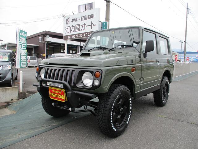 スズキ ジムニー ワイルドウインド 4WD/ターボ/タイヤ4本新品/FR社外バンパー/リフトアップ/全塗装