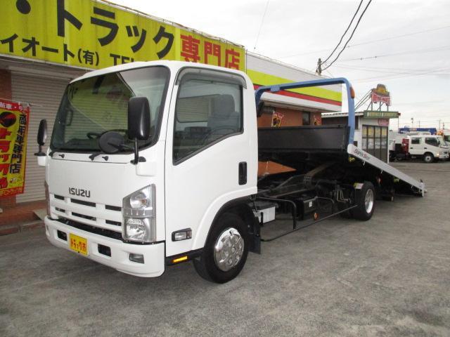 いすゞ エルフトラック 2t 重機運搬車 セフティーローダー
