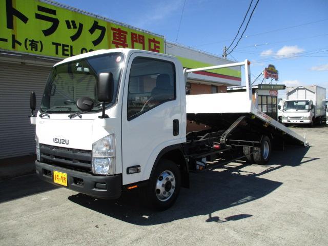 いすゞ エルフトラック 2.9t セフティーローダー 重機運搬車 ラジコン付 4WD ウインチ ナビ ETC フルタイム4WD