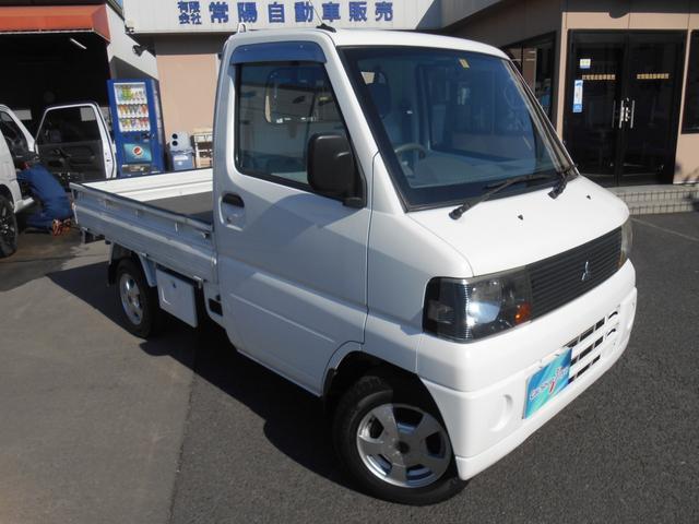 三菱 VX-SE パワステ エアコン 切替式4WD 5速マニュアル 三方開き 社外アルミ 作業灯 マット バイザー 荷台マット