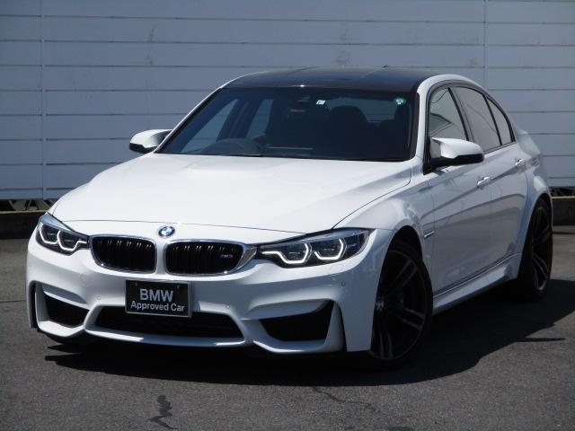 BMW M3 M3 純正ナビ ETC バックカメラ パドルシフト Bluetooth harman/Kardonサラウンド カーボンインテリアトリム LEDヘッドライト カーボンルーフ 後期型 ワンオーナー 純正19AW