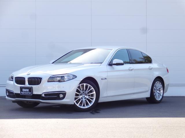 BMW 523iラグジュアリー 2Lターボエンジン パールホワイト ラグジュアリー ブラックレザーシート 電動シート シートヒーター 純正HDDナビ ACC バックカメラ CD・DVD再生 ブルートゥース 純正18インチアルミ