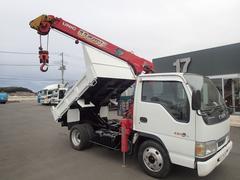 エルフトラック0740 3段クレーンラジコン付ダンプ インジェクター交換済