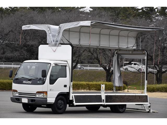 いすゞ エルフトラック 幌ウイング メイダイ製 手動 アーム式パワーゲート 2t