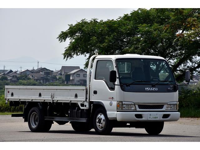 いすゞ エルフトラック 3t ワイド ロング 平ボデー トラック 三方開 6速マニュアル 3ペダル