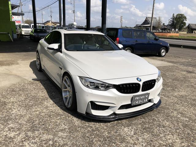 BMW M4クーペ 6速マニュアル 社外車高調(JRZ製) 社外20インチアルミ(agio製 PKR) 社外マフラー(アクラポビッチ製チタンフルエキ) 社外エアクリーナー(AFE製) 社外カーボンエアロ4点 LEDヘッド