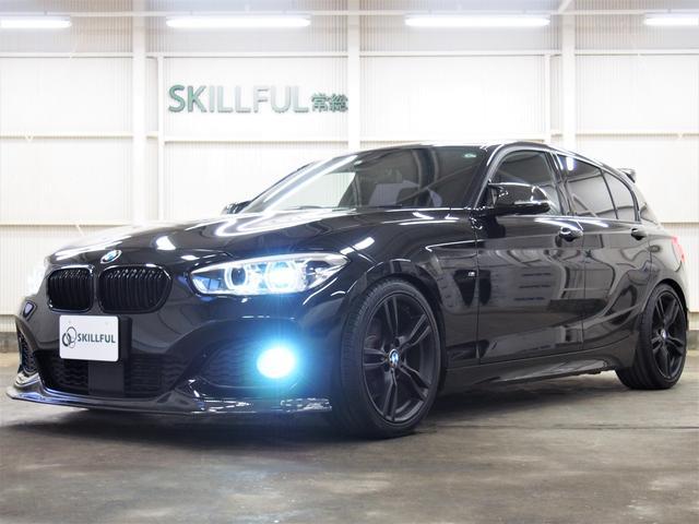 BMW 1シリーズ 120i Mスポーツ 後期カーボンフロントスポイラーカーボンルーフスポイラーカーボン調リアサイドアンダースポイラーend.ccリアディフューザー車検対応スーパースプリント4本出しマフラーローダウン黒18AW禁煙車黒グリル