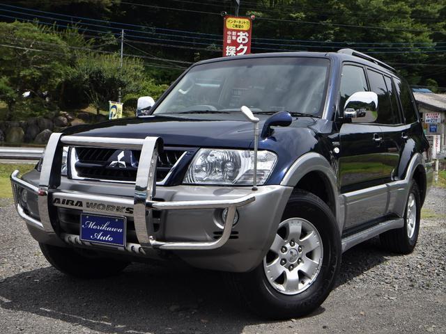 三菱 パジェロ ロング スーパーエクシード V6 3500 サンルーフ 4WD シートヒータ 革シート ナビ バックカメラ MMCS HID 5AT ワンオーナー 7人乗り