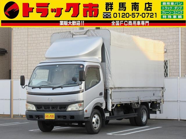日野 3t積・電動幌ウイング・垂直PG付600kg・ラッシング1段