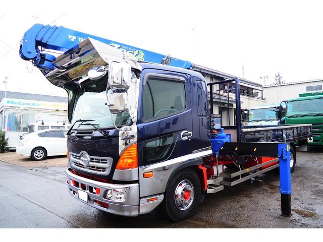 日野 レンジャー  TM-ZE364HR タダノ4段クレーンラジコン付き 角足 内寸550幅215cm ベット付き 積載2450kg 240馬力 メッキパーツ