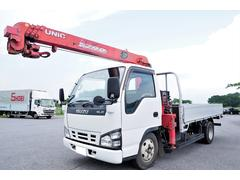 エルフトラック 標準幅 積載3t アルミブロック平ボディ 古河ユニック製 URV294 2.93t吊り 4段クレーン ラジコン付 差し違いアウトリガー 2003年製