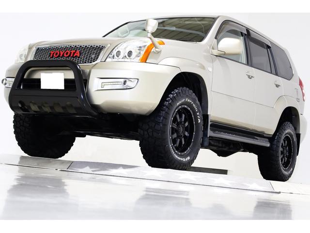 トヨタ ランドクルーザープラド TX 4WD リフトUP 特注オールクロームメッキメッシュグリル バンパーガード レザー調シートカバー MKW17インチAW SDナビ フルセグTV フリップダウンモニター 新品ダッシュボード