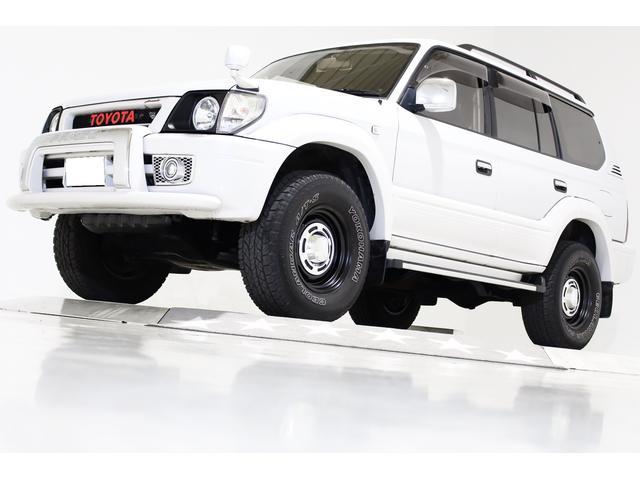 トヨタ ランドクルーザープラド TX 4WD 丸目仕様 ブラックレザー調シートカバー ヴィンテージグリル ヴィンテージマットブラック16インチアルミホイール 電動サンルーフ 社外キーレス 社外セキュリティー 3列シート 8人乗り