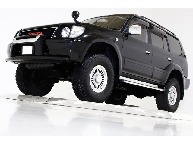トヨタ ランドクルーザープラド TXリミテッド 4WD リフトアップ 丸目仕様 DEAN16インチアルミホイール ヴィンテージグリル ブラックレザー調シートカバー ウッドコンビステアリング 電動サンルーフ SDナビ フルセグTV バックカメラ