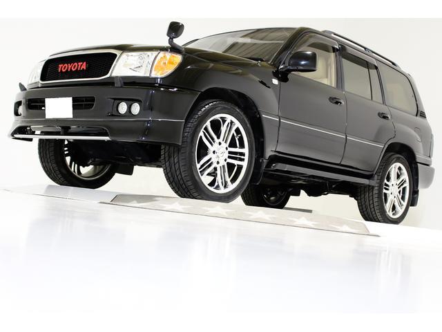 トヨタ ランドクルーザー100 VXリミテッド 4WD 新品タイミングベルト交換済 ヴィンテージグリル ダブルLEDイカリングフォグランプ US仕様コーナーランプ LEDテールランプ レザー調シートカバー ヒッチメンバー 22インチホイール