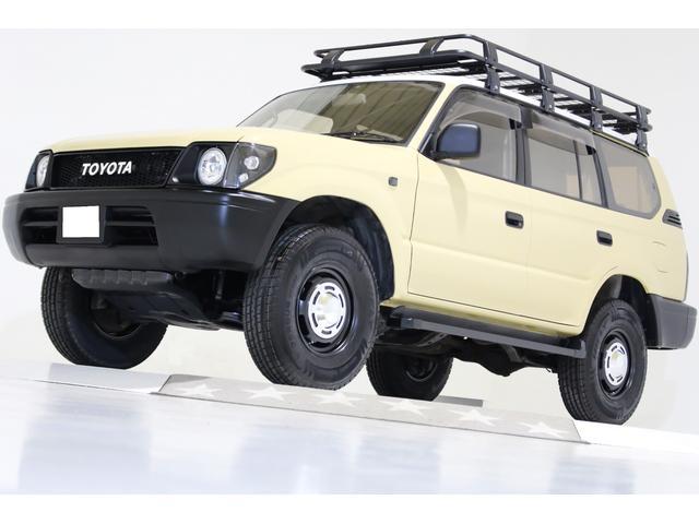 トヨタ ランドクルーザープラド TZ 4WD リミスタ仕様 新品タイミングベルト交換済 丸目仕様 ナロー仕様 ヴィンテージ16インチアルミホイール ヴィンテージグリル ルーフラック 新品タイヤ ブラックレザー調シートカバー サンルーフ