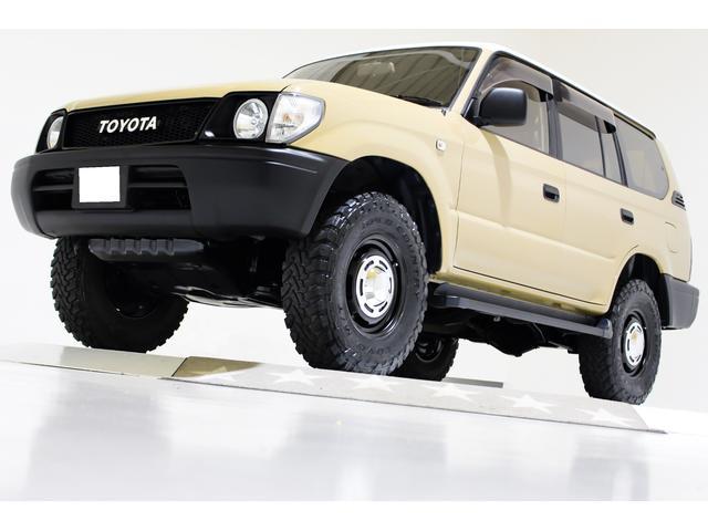 トヨタ ランドクルーザープラド TX 4WD 新品タイミングベルト交換済 丸目仕様 ナローボディ仕様 ヴィンテージ16インチアルミホイール ヴィンテージブラウンレザー調シートカバー キーレス CD ETC  3列シート 8人乗り