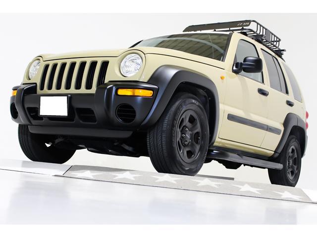 クライスラー・ジープ スポーツ 4WD ルーフラック キーレス 分離型ETC付 盗難防止イモビライザー付 オーバーフェンダーマットブラック 前後バンパーマットブラック マットブラック16インチホイール チューブサイドステップ