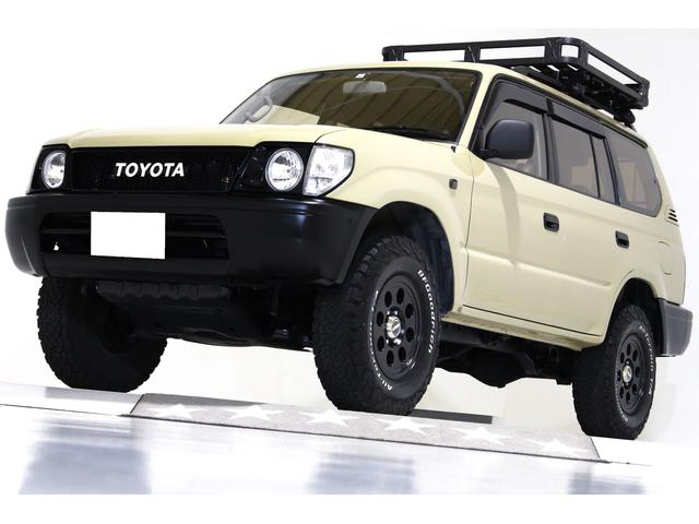 トヨタ ランドクルーザープラド TX 4WD 新品タイミングベルト交換 ナローボディ ルーフラック リアラダー付 ブラウンレザー調シートカバー ヴィンテージグリル 社外16インチアルミホイール キーレス ナビ TV 3列シート 8人乗り