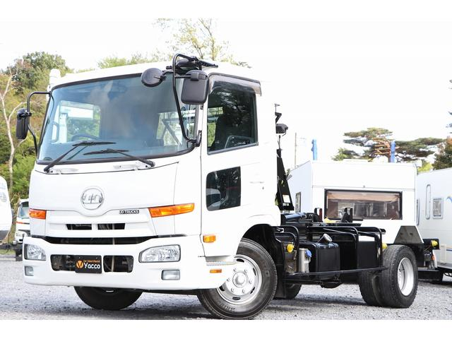 UDトラックス  新明和アームロール CCA44-30 ツインホイスト リモコン 積載3650kg 車両総重量 7990kg シート置き ラジオ ETC 左電各ミラー EHS DPF アドブルー