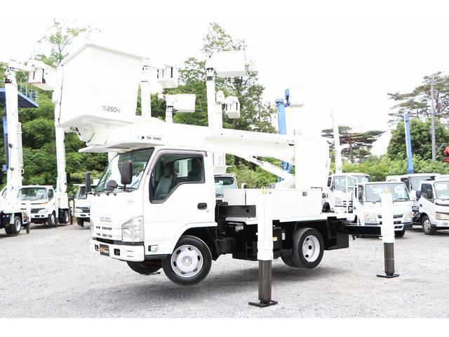 いすゞ エルフトラック  タダノ高所作業車 AT146TE 14.6m 電工仕様 自動格納 積載500kg 車両総重量7445kg 左電各ミラー ETC HSA DPD ヘッドライトレベライザー