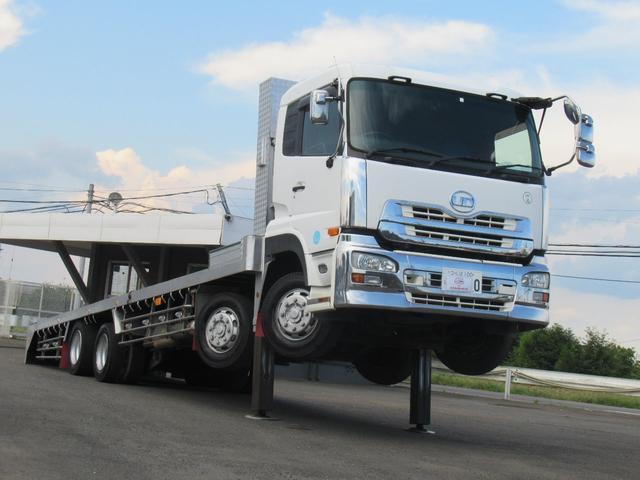 UDトラックス  H22年 UDクオン タダノハイジャッキ セルフローダー 12.8t ウインチ付 25t 車検有り メッキ付 ETC ベッド付