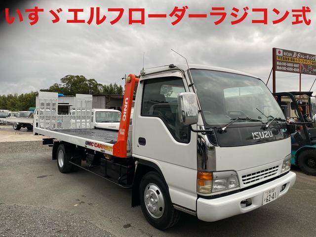 いすゞ エルフトラック  ローダー 積載車 ラジコン付き 206,712km 修復歴無し 6速マニュアル 4,600cc 軽油 ディーゼル 長さ752cm 幅218cm 高さ 227cm エアコン パワステ パワーウィンドウ