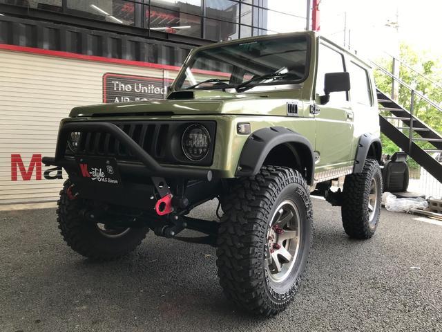 スズキ  4WD マニュアル5速 リフトアップ 社外ハンドル 社外マフラー 社外ホイール MTタイヤ バンパー LEDヘッドライト LEDテール ドライブレコーダー レカロシート 追加メーター