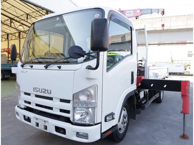 いすゞ エルフトラック 2.9t吊4段クレーン 木平 高床ロング 積載2t