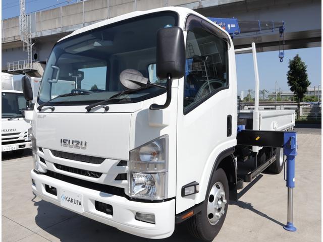 いすゞ エルフトラック 2.6t吊4段クレーン 木平 高床ワイドロング 積載3t