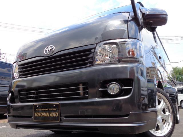 トヨタ ロングスーパーGL 2.5DTナビTVバックカメラエアロ18アルミBKインナ-LED黒革黒木目Tベル交換済