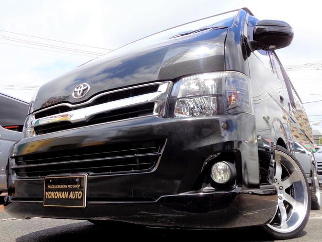 トヨタ ロングワイドスーパーGL 3型後期フルエアロ車内泊カスタムユーザー買取ナビ後席TV黒革黒木目HID