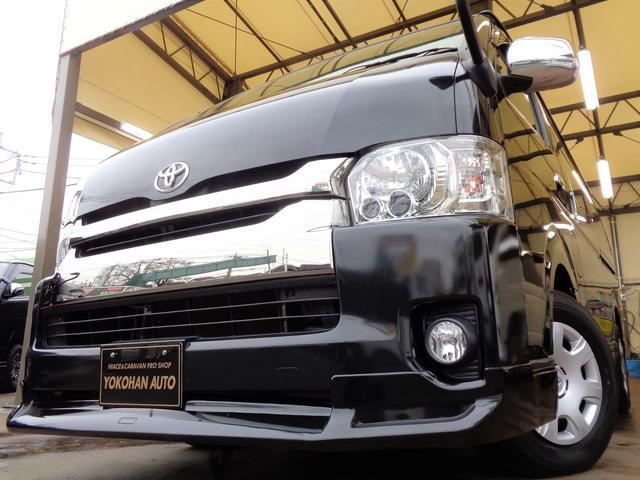 トヨタ ロングワイドスーパーGL 4型ダークプライム6AT1オーナー禁煙ナビTVバックカメラセキュリティスマートキーエアロLEDライト専用レザー黒木目インテリア