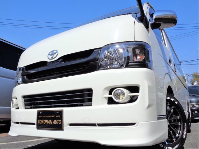 トヨタ ロングスーパーGL 3.0DTナビTVバックカメラセキュリティエアロBKインナーLEDライト16AW&ナスカーローダウン社外ショック黒革調シートTベル交換済み