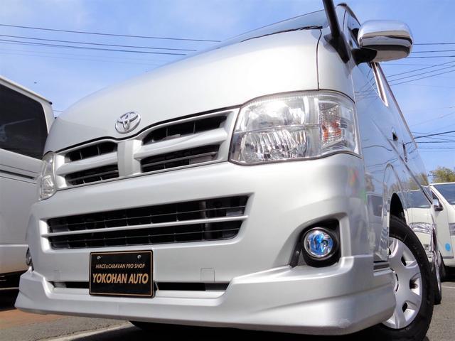 トヨタ ロングスーパーGL 3型3.0DT1オーナーHDDフルセグバックカメラエアロHIDライト黒革調シートTベル交換済