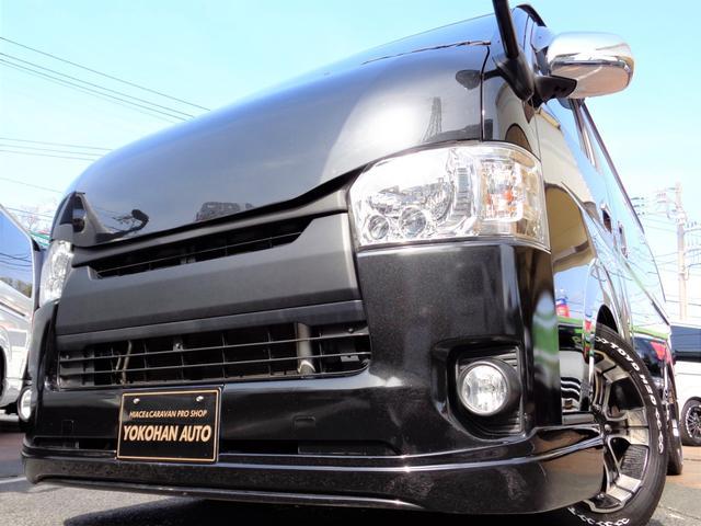 トヨタ ロングスーパーGL 4型3.0ディーゼルターボバットフェイスカスタム1オーナーナビTVバックカメラ両側電動ドアスマートキーエアロLEDライト17AW&H20ローダウン黒革黒木目インテリアTベル交換済