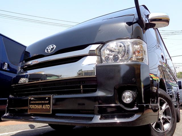 トヨタ ハイエースバン ロングワイドスーパーGL 4型ダークプライム4WD6AT1オーナー禁煙車SDフルセグバックカメラ両側電動ドアスマートキーセキュリティーエアロLEDライト専用レザー&黒木目インテリアWエアバック