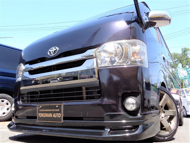トヨタ スーパーGL ダークプライム 4型3.0ディーゼルターボ1オーナーSDフルセグバックカメラセキュリティースマートキーエアロLEDライト18AWローダウンLEDテール専用レザー&黒木目インテリアTベル交換済み