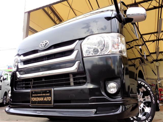 トヨタ ロングスーパーGL 4型3.0ディーゼルターボ車内泊仕様1オーナーナビTV後席TVバックカメラベットキット黒革調シートFエアロ&RエアロLEDライト16AW&H20Tベル交換済