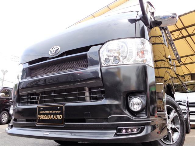 トヨタ ハイエースバン ロングスーパーGL 4型3.0ディーゼルターボ4WD1オーナーナビTVバックカメラスマートキーセキュリティーエアロLEDライト15AWルーフキャリア&リアラダー黒革調シートTベル交換済