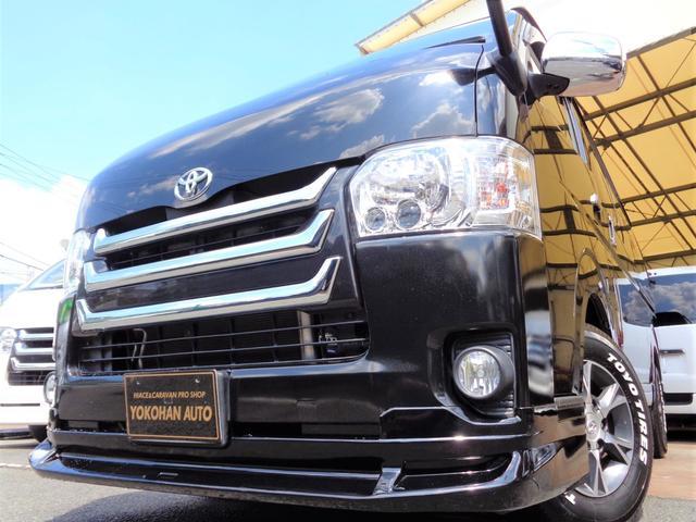 トヨタ ロングスーパーGL 4型6AT1オーナーSDフルセグセキュリティスマートキーエアロLEDライト15AW&H20黒革調シート荷室棚