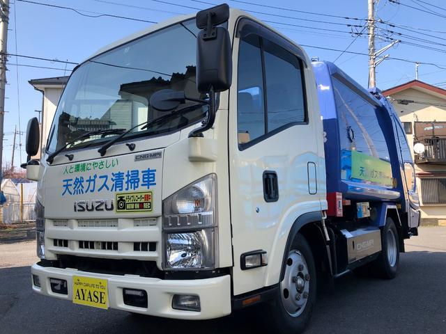 いすゞ エルフトラック 2t積プレス式パッカー車4.57LCNG新明和4.2立米