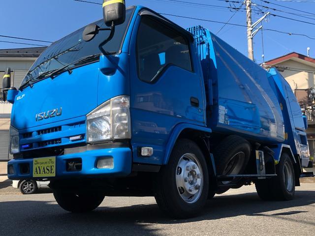 いすゞ 2.95t積プレス式パッカー車モリタ製5.3立米 2.95t積 プレス式パッカー車 2.99Lディーゼルターボ 6速MT モリタ製5.3立米 PA55H-5 汚水タンク付 ABS、ASR、カラーBカメラ 車両総重量7515キロ